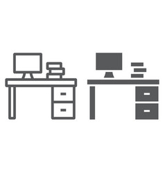 desk line and glyph icon furniture and office vector image