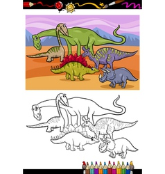 Dinosaurs group cartoon coloring book vector