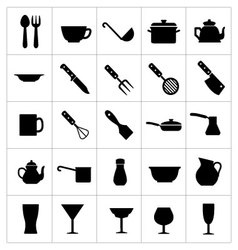 Dishware icons vector image