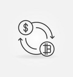 dollar to bitcoin exchange icon or symbol vector image