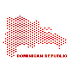 dominican republic map - mosaic of valentine vector image