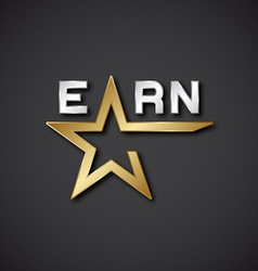 EPS10 earn golden star inscription icon vector