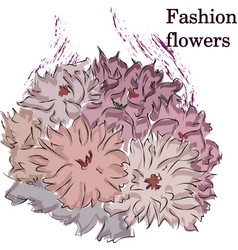fast fashion sketch of fabulous purple flowers vector image