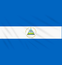 Flag nicaragua swaying in wind realistic vector