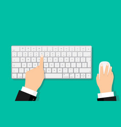 Flat hands typing on white keyboard with mouse vector