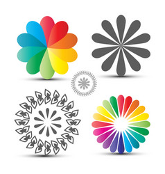 flover icons set colorful circle shapes isolated vector image