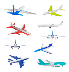 flying airplanes jet planes airliners of vector image