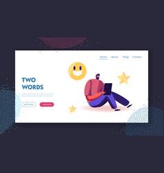 follower express satisfaction in internet website vector image