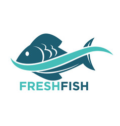 Fresh fish logotype in blue color isolated on vector