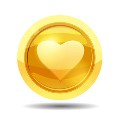 Game coin with heart game interface gold vector