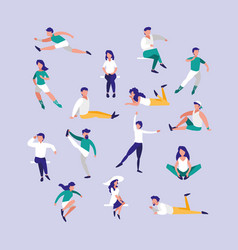 Group people practicing exercises avatar character vector