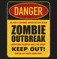 Halloween warning sign danger zombie area vector