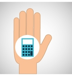 Hand calculator finance icon vector