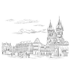 Hand drawing prague 10 vector