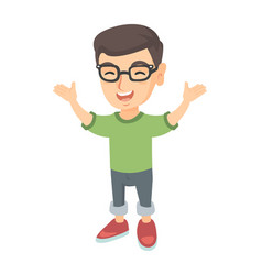 Happy caucasian boy standing with raised hands vector