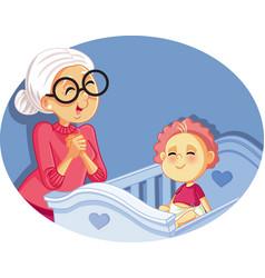 happy grandmother babysitting cute bacartoon vector image