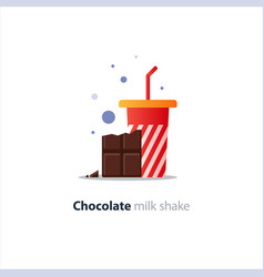 High glass of milk shake with chocolate bar vector
