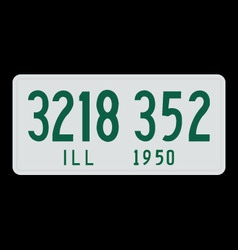 Illinois 1950 license plate vector image