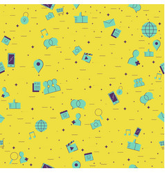 internet social network outline icon background vector image