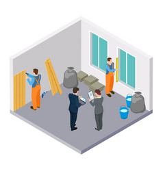 isometric construction workers room repair vector image