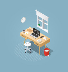 Isometric home workplace vector