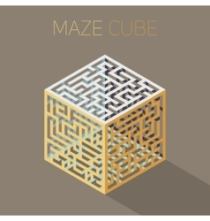 Isometric Maze Cube Cage Design Concept vector image