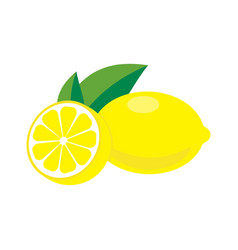 lemon with leaves vector image