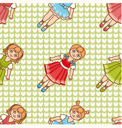 Little ballerina cartoon style seamless pattern vector