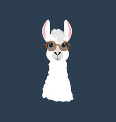 Llama in round glasses vector
