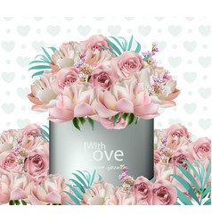 Lovely flowers bouquet realistic floral vector