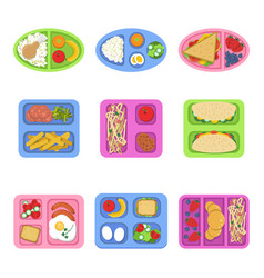 lunch boxes food containers with fish meal eggs vector image