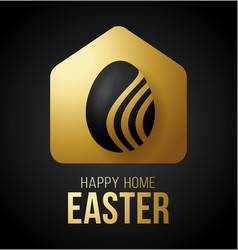 Luxury gold happy home easter 2020 card with vector