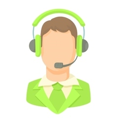 Man with a headset icon cartoon style vector image