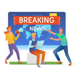 Mass media online breaking news conceptyoung men vector