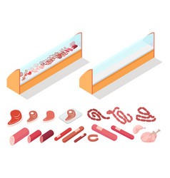 Meat in groceries showcase isometric vector