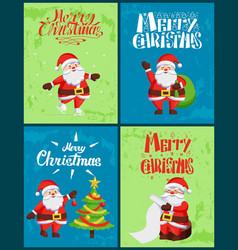 merry christmas santa claus wintertime adventures vector image
