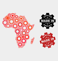 mosaic africa map cog elements and grunge seal vector image