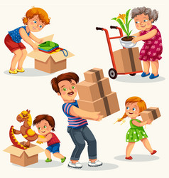 moving to new house colorful set vector image