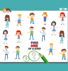 one a kind task with kid characters vector image