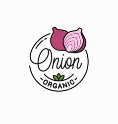 onion vegetable logo round linear red onion vector image
