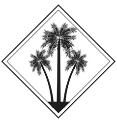 palm tree emblem icon vector image vector image