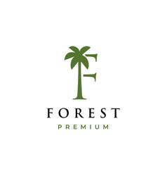 palm tree f letter mark logo icon vector image