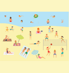 people relaxing on the summer beach vector image