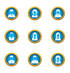 personal skill icons set flat style vector image