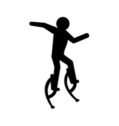 Pictogram man jumping with a skyrunner vector