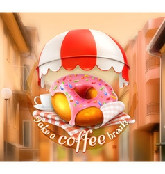 Pink donut and cup of coffee awning over entrance vector