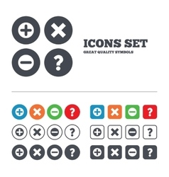 Plus and minus icons Question FAQ symbol vector