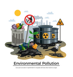 Pollution ecology flat composition vector