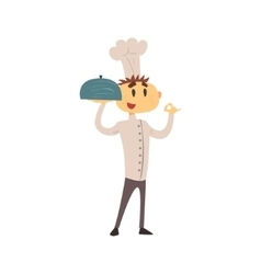 Professional Cook In Classic Double Breasted White vector image