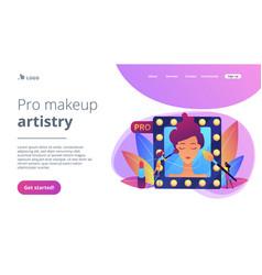 Professional makeup concept landing page vector